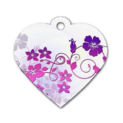 Floral Garden Dog Tag Heart (Two Sided)