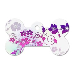 Floral Garden Dog Tag Bone (Two Sided)