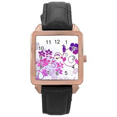 Floral Garden Rose Gold Leather Watch