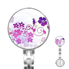 Floral Garden Stainless Steel Nurses Watch