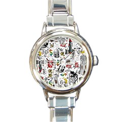 Medieval Mash Up Round Italian Charm Watch