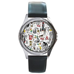 Medieval Mash Up Round Leather Watch (silver Rim)