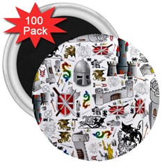 Medieval Mash Up 3  Button Magnet (100 pack)
