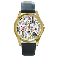 Medieval Mash Up Round Leather Watch (gold Rim)