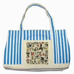 Medieval Mash Up Blue Striped Tote Bag