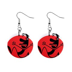 Running Man Mini Button Earrings