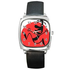 Running Man Square Leather Watch