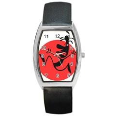 Running Man Tonneau Leather Watch