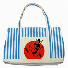 Running Man Blue Striped Tote Bag