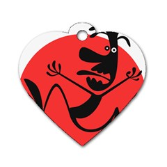 Running Man Dog Tag Heart (one Sided)