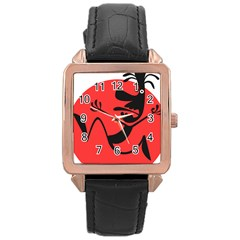 Running Man Rose Gold Leather Watch