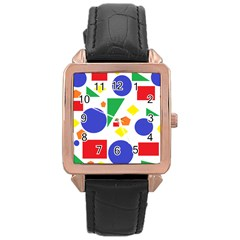 Random Geometrics Rose Gold Leather Watch