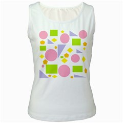 Spring Geometrics Women s Tank Top (White)