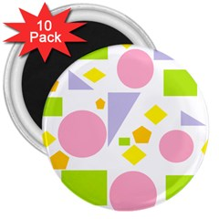 Spring Geometrics 3  Button Magnet (10 Pack)