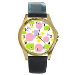 Spring Geometrics Round Leather Watch (gold Rim)