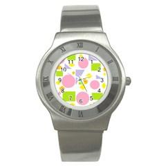 Spring Geometrics Stainless Steel Watch (Slim)