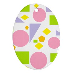 Spring Geometrics Oval Ornament (Two Sides)