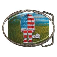 Painted Flag Big Foot Homo Erec Belt Buckle (Oval)