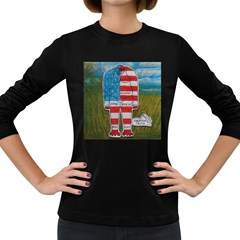 Painted Flag Big Foot Homo Erec Women s Long Sleeve T Shirt (dark Colored)