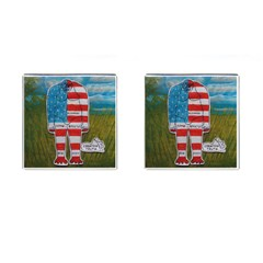 Painted Flag Big Foot Homo Erec Cufflinks (Square)
