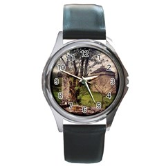 Toulongergues2 Round Leather Watch (Silver Rim)