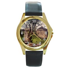 Toulongergues2 Round Leather Watch (gold Rim)