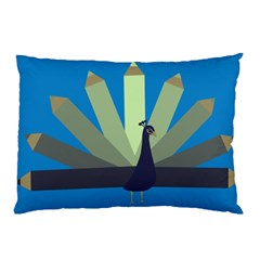 Pencil Peacock Pillow Case (Two Sides)