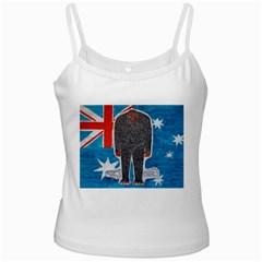 Big Foot H,australia Flag White Spaghetti Tank