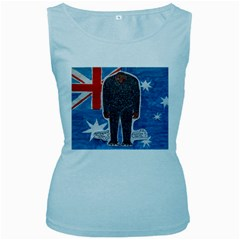 Big Foot H,australia Flag Women s Tank Top (Baby Blue)