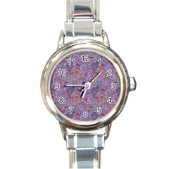 Purple Paisley Round Italian Charm Watch
