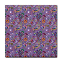 Purple Paisley Ceramic Tile