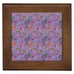 Purple Paisley Framed Ceramic Tile
