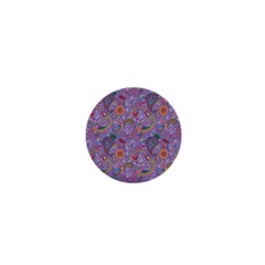 Purple Paisley 1  Mini Button Magnet