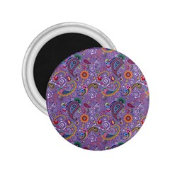 Purple Paisley 2 25  Button Magnet