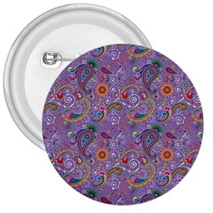 Purple Paisley 3  Button