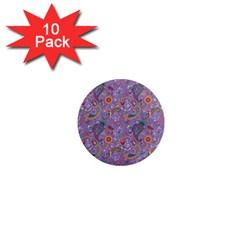Purple Paisley 1  Mini Button Magnet (10 pack)