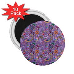 Purple Paisley 2.25  Button Magnet (10 pack)