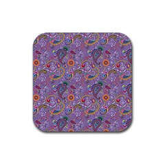 Purple Paisley Drink Coasters 4 Pack (Square)