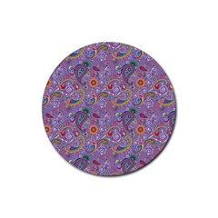 Purple Paisley Drink Coasters 4 Pack (round)