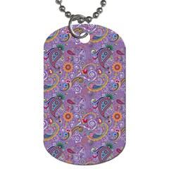 Purple Paisley Dog Tag (two Sided)