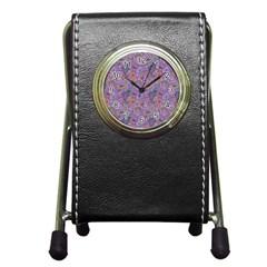 Purple Paisley Stationery Holder Clock