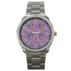 Purple Paisley Sport Metal Watch
