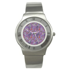 Purple Paisley Stainless Steel Watch (Slim)