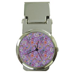 Purple Paisley Money Clip with Watch