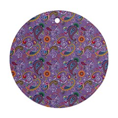 Purple Paisley Round Ornament (Two Sides)