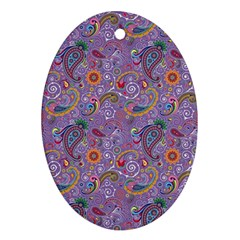Purple Paisley Oval Ornament (Two Sides)