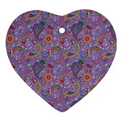 Purple Paisley Heart Ornament (two Sides)