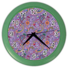 Purple Paisley Wall Clock (Color)