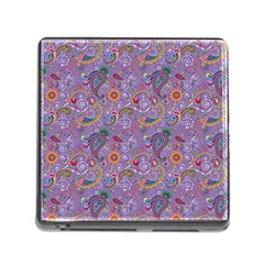 Purple Paisley Memory Card Reader With Storage (square)