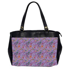 Purple Paisley Oversize Office Handbag (Two Sides)